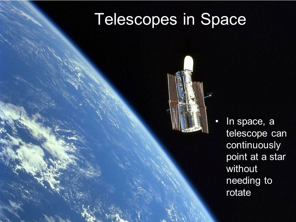 Telescopes in Space In space, a telescope can continuously point at a star without needing to rotate