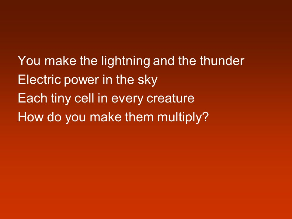 You make the lightning and the thunder Electric power in the sky Each tiny cell in every creature How do you make them multiply?