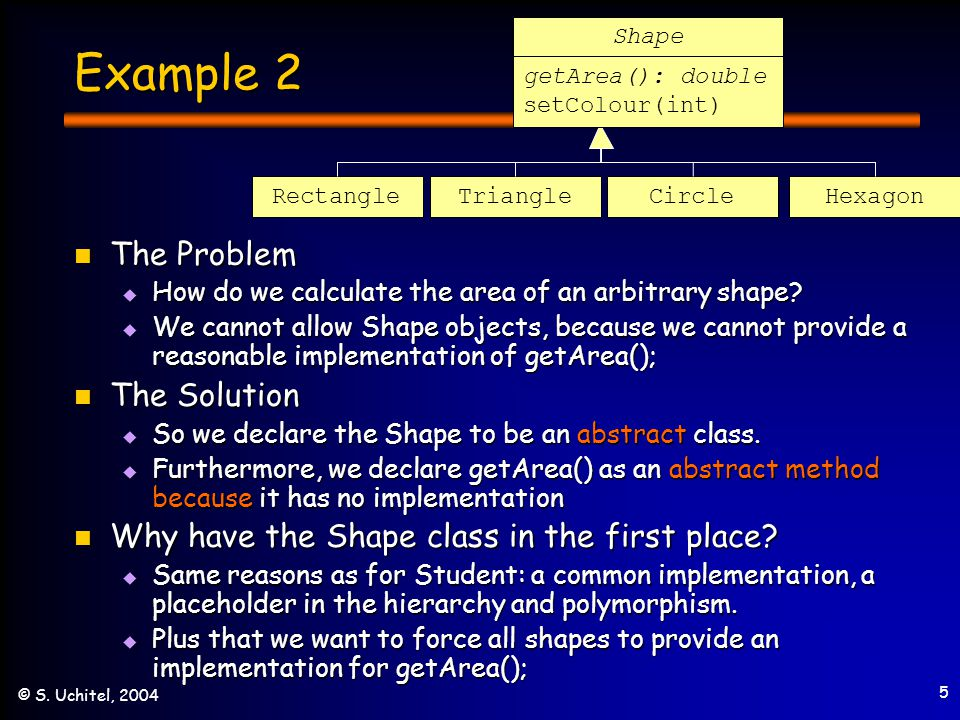 5 © S. Uchitel, 2004 Example 2 The Problem The Problem  How do we calculate the area of an arbitrary shape?  We cannot allow Shape objects, because