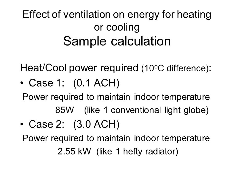 Heat/Cool power required (10 o C difference) : Case 1: (0.1 ACH) Power required to maintain indoor temperature 85W (like 1 conventional light globe) C