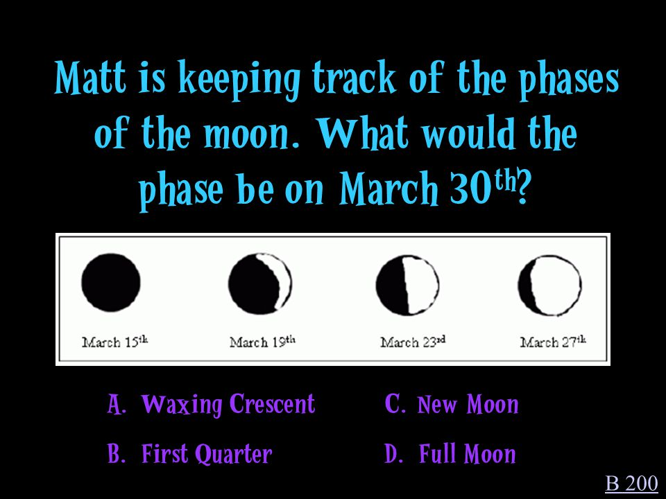 A. We see only the lit part of the moon as it moves around Earth. B 100