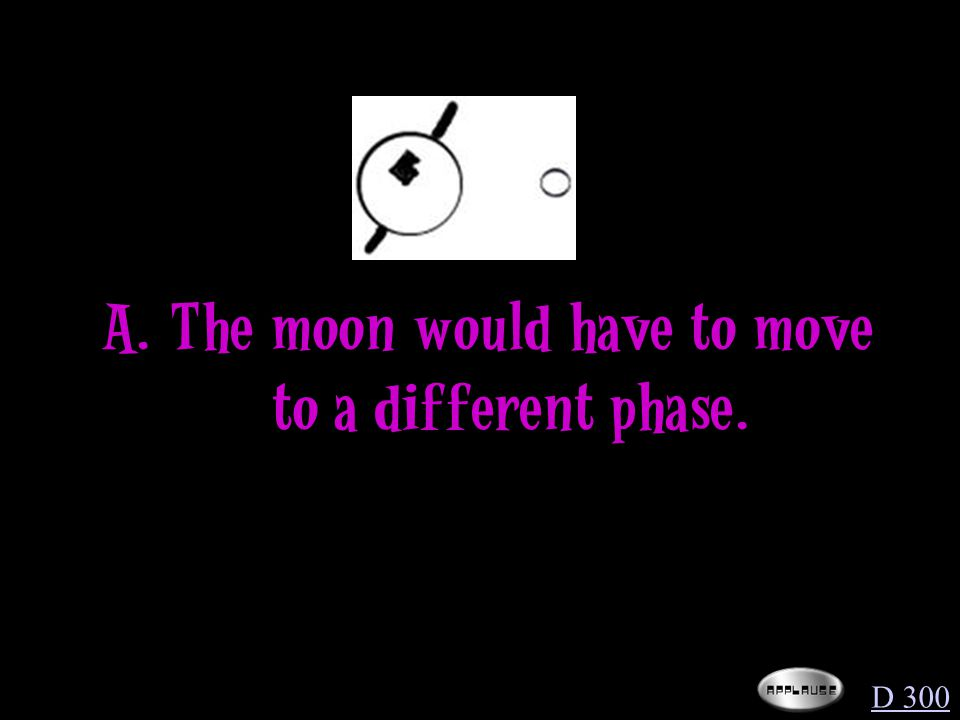Which statement about the diagram below would have to be true to show an object's motion in the form of revolving in orbit D 300 A.The moon would have to spin so that we can see the other side.