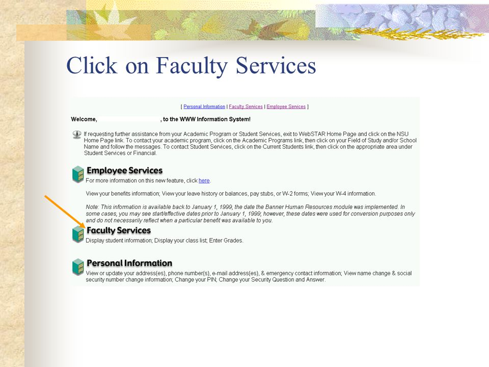Click on Faculty Services