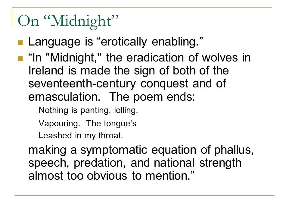 """On """"Midnight"""" Language is """"erotically enabling."""" """"In"""