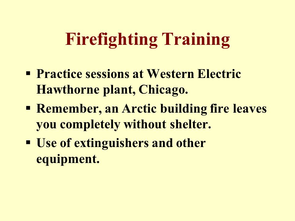 Firefighting Training  Practice sessions at Western Electric Hawthorne plant, Chicago.