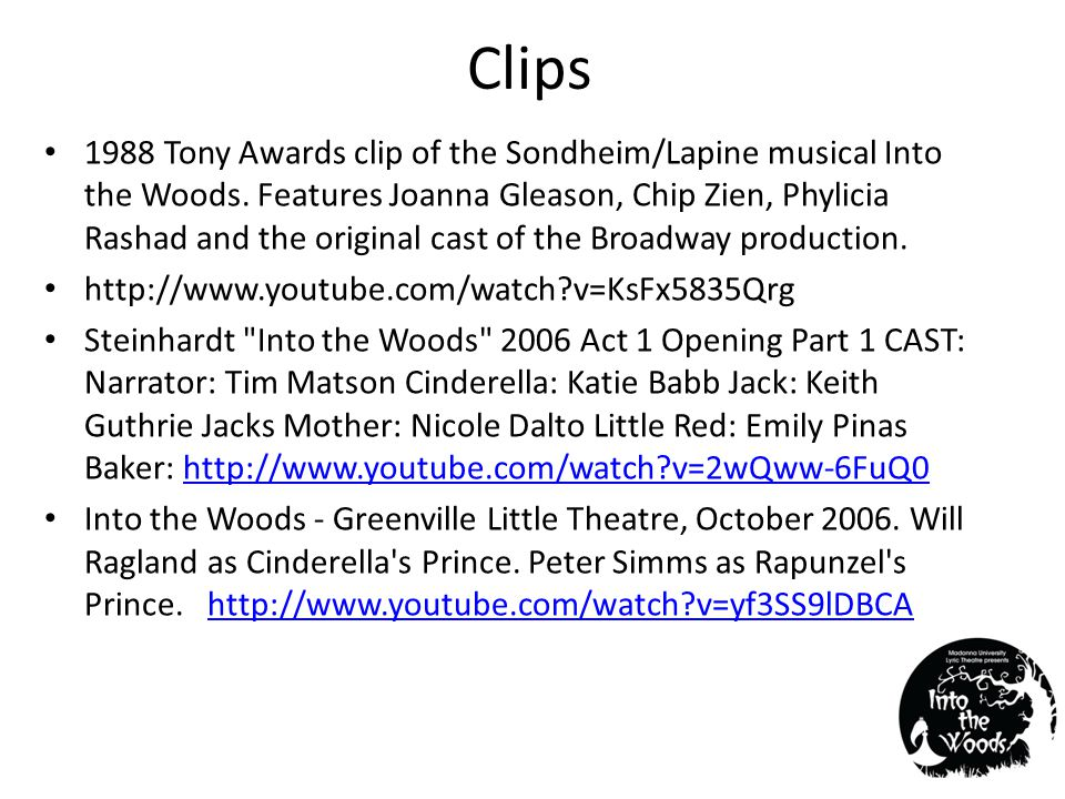 Clips 1988 Tony Awards clip of the Sondheim/Lapine musical Into the Woods.