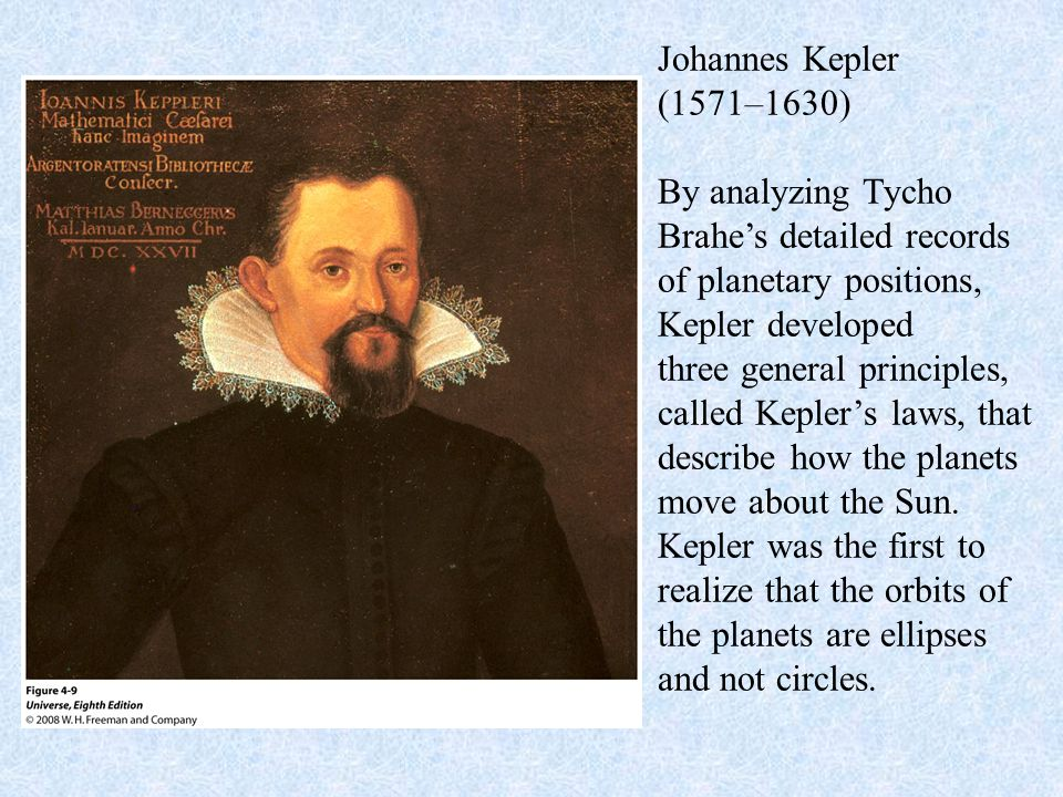 Johannes Kepler (1571–1630) By analyzing Tycho Brahe's detailed records of planetary positions, Kepler developed three general principles, called Kepl