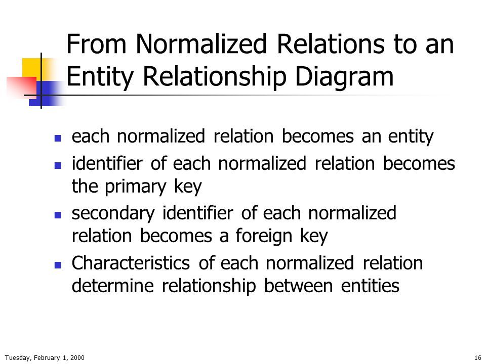 Tuesday, February 1, 200016 From Normalized Relations to an Entity Relationship Diagram each normalized relation becomes an entity identifier of each normalized relation becomes the primary key secondary identifier of each normalized relation becomes a foreign key Characteristics of each normalized relation determine relationship between entities