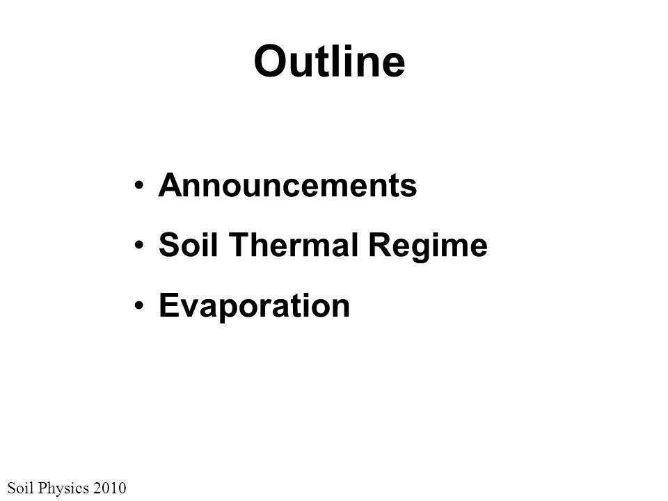 Soil Physics 2010 Outline Announcements Soil Thermal Regime Evaporation