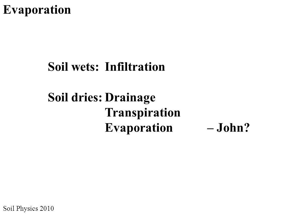 Soil Physics 2010 Evaporation Soil wets:Infiltration Soil dries:Drainage Transpiration Evaporation – John?