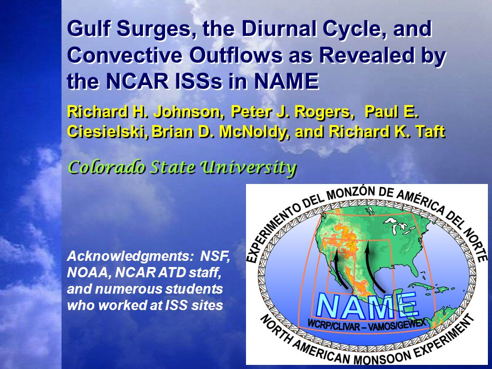 Gulf Surges, the Diurnal Cycle, and Convective Outflows as Revealed by the NCAR ISSs in NAME Richard H.