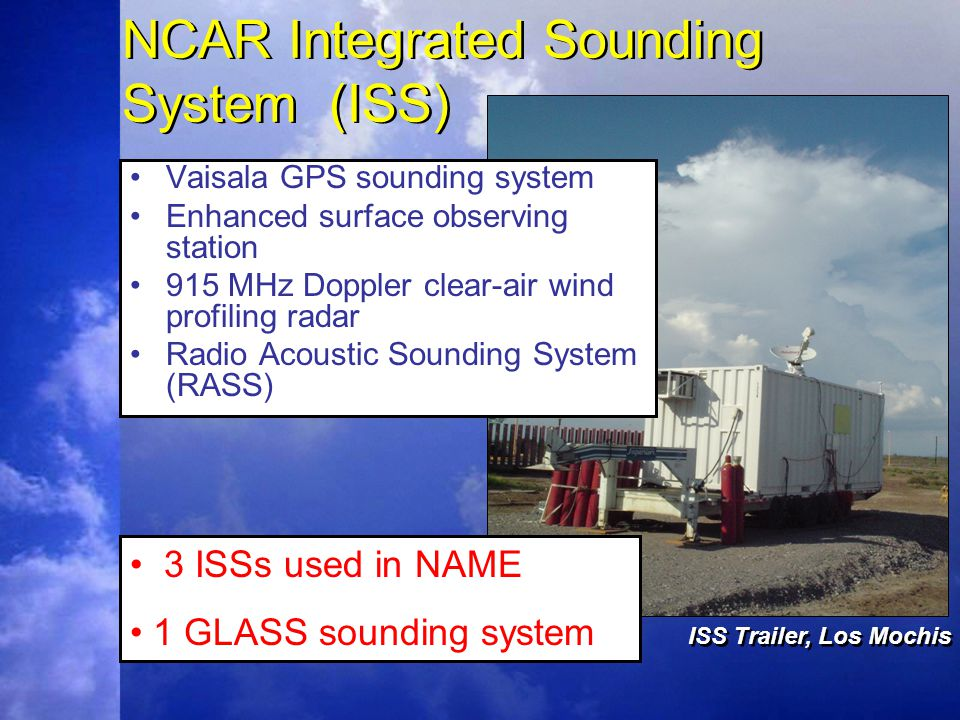 NCAR Integrated Sounding System (ISS) Vaisala GPS sounding system Enhanced surface observing station 915 MHz Doppler clear-air wind profiling radar Radio Acoustic Sounding System (RASS) 3 ISSs used in NAME 1 GLASS sounding system ISS Trailer, Los Mochis