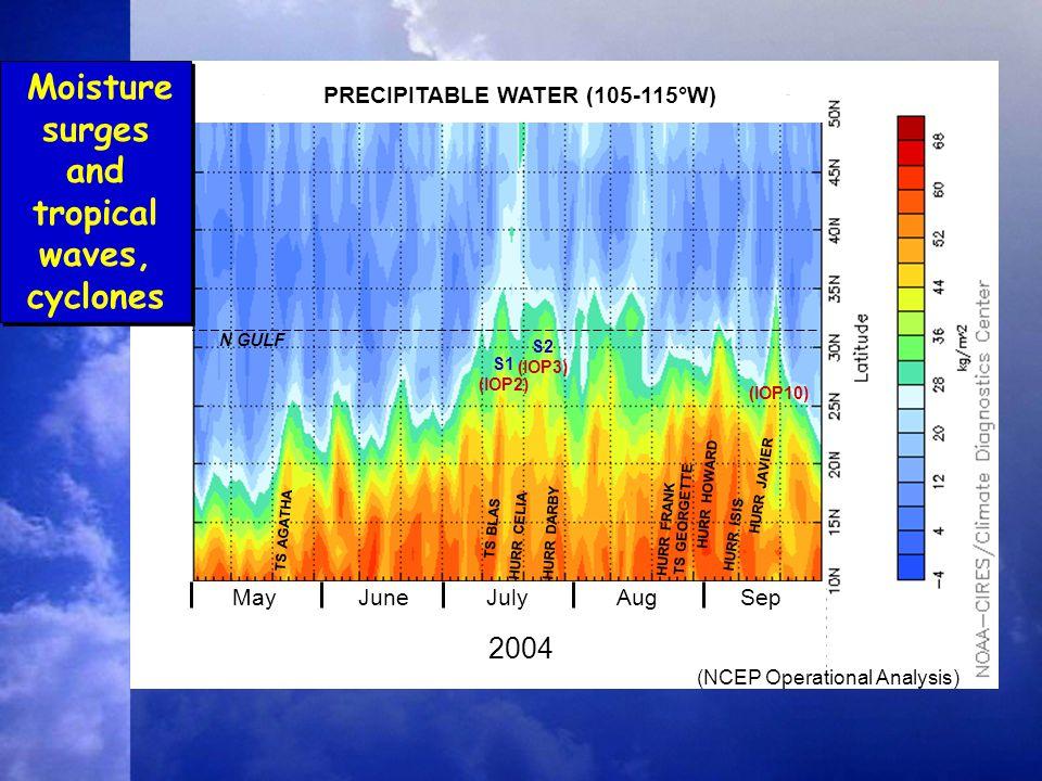 N GULF S1 (IOP2) S2 (IOP3) 2004 MayJuneJulyAugSep PRECIPITABLE WATER (105-115°W) (NCEP Operational Analysis) HURR JAVIER HURR HOWARD TS BLAS (IOP10) TS AGATHA HURR CELIA HURR DARBY HURR FRANK TS GEORGETTE HURR ISIS Moisture surges and tropical waves, cyclones
