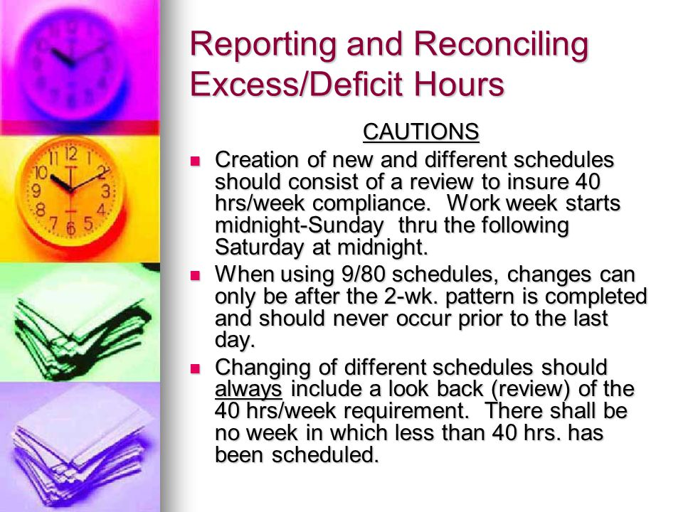Reporting and Reconciling Excess/Deficit Hours CAUTIONS Creation of new and different schedules should consist of a review to insure 40 hrs/week compliance.