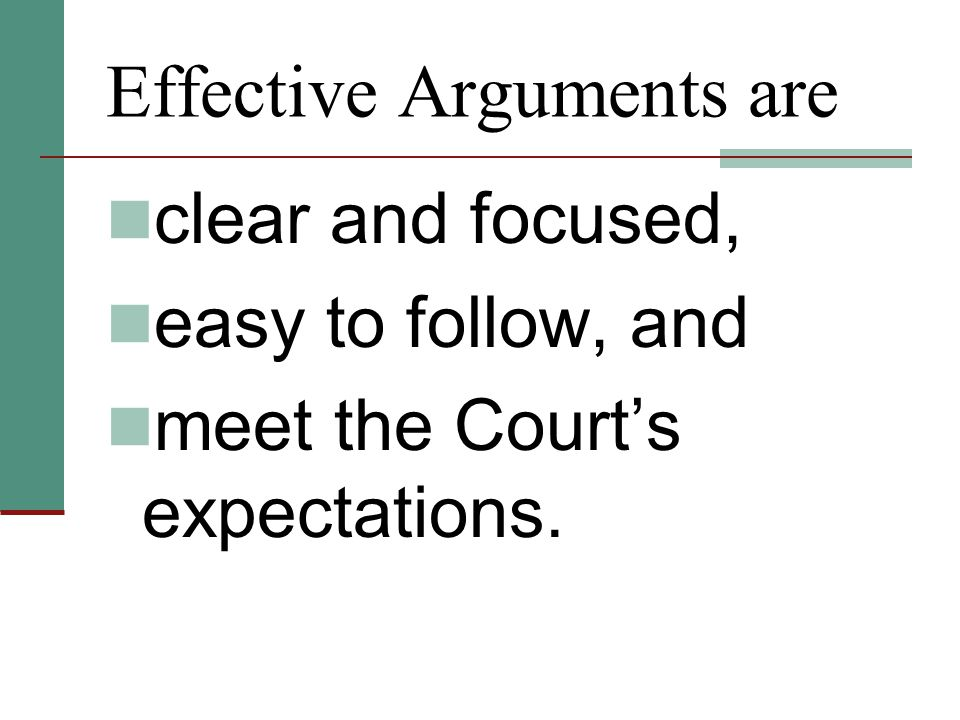 The Court's Expectations The Court does not want to read about every case the attorney found.