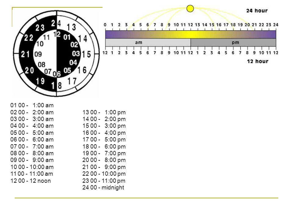 01 00 - 1:00 am 02 00 - 2:00 am 03 00 - 3:00 am 04 00 - 4:00 am 05 00 - 5:00 am 06 00 - 6:00 am 07 00 - 7:00 am 08 00 - 8:00 am 09 00 - 9:00 am 10 00 - 10:00 am 11 00 - 11:00 am 12 00 - 12 noon 13 00 - 1:00 pm 14 00 - 2:00 pm 15 00 - 3:00 pm 16 00 - 4:00 pm 17 00 - 5:00 pm 18 00 - 6:00 pm 19 00 - 7:00 pm 20 00 - 8:00 pm 21 00 - 9:00 pm 22 00 - 10:00 pm 23 00 - 11:00 pm 24 00 - midnight