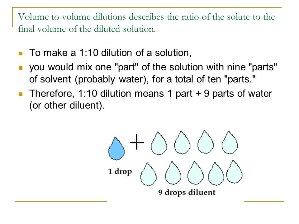 Volume to volume dilutions describes the ratio of the solute to the final volume of the diluted solution. To make a 1:10 dilution of a solution, you w