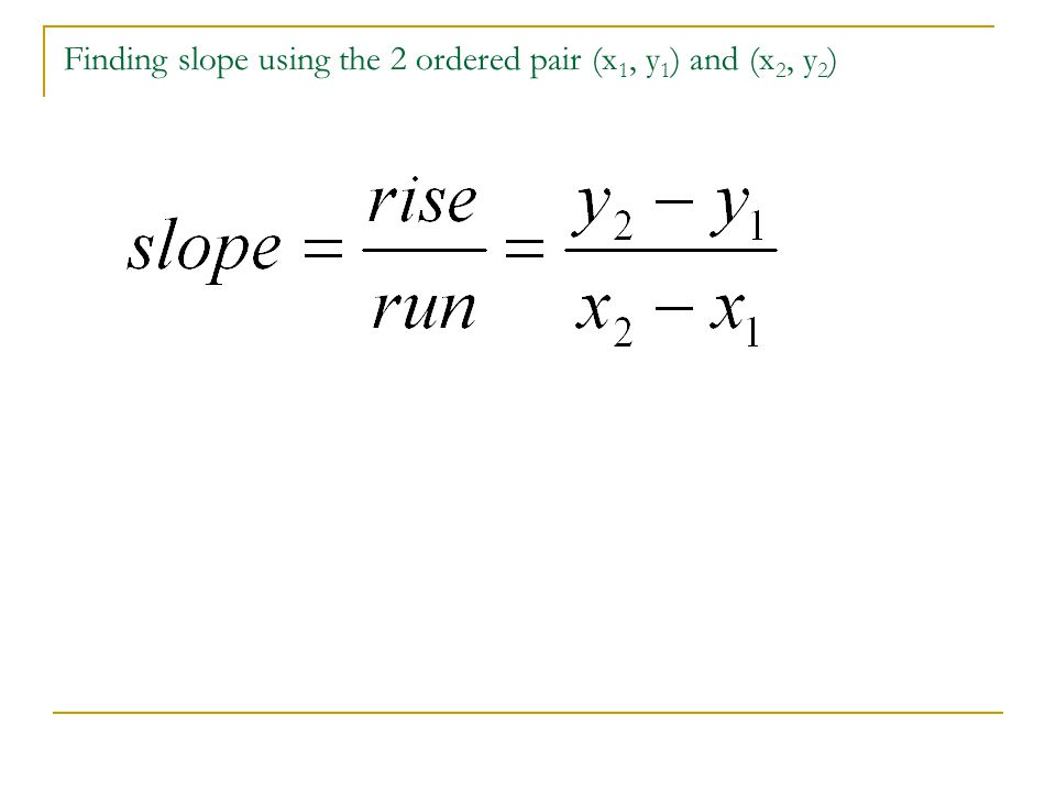 Finding slope using the 2 ordered pair (x 1, y 1 ) and (x 2, y 2 )