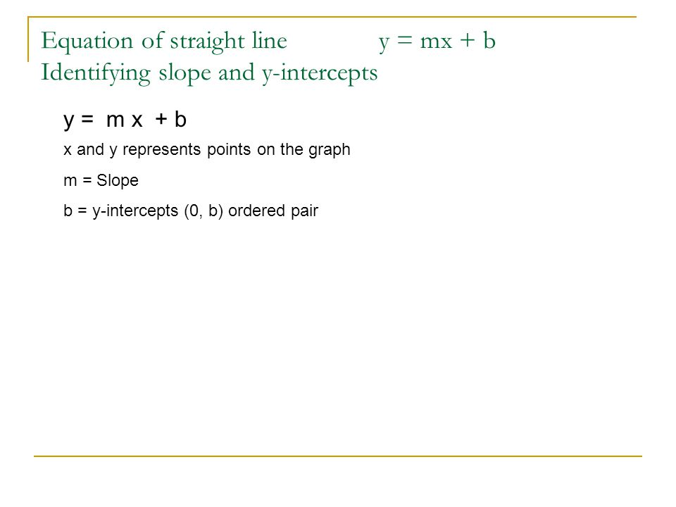 Equation of straight line y = mx + b Identifying slope and y-intercepts y = m x + b x and y represents points on the graph m = Slope b = y-intercepts
