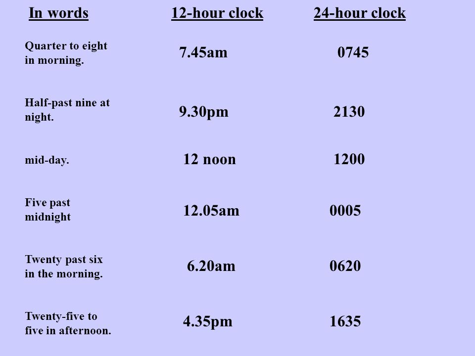 Time Intervals This is best done using time lines .