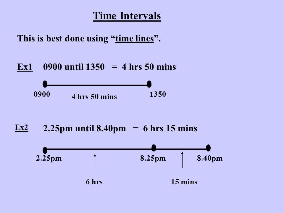 Ex31745 until 2310 = 1745 18002310 15 mins 5 hrs 10 mins 5 hrs 25 mins Ex411.35pm until 6.20am = 11.35pmmidnight 6.20am 25 mins6 hrs 20 mins 6 hrs 45 mins