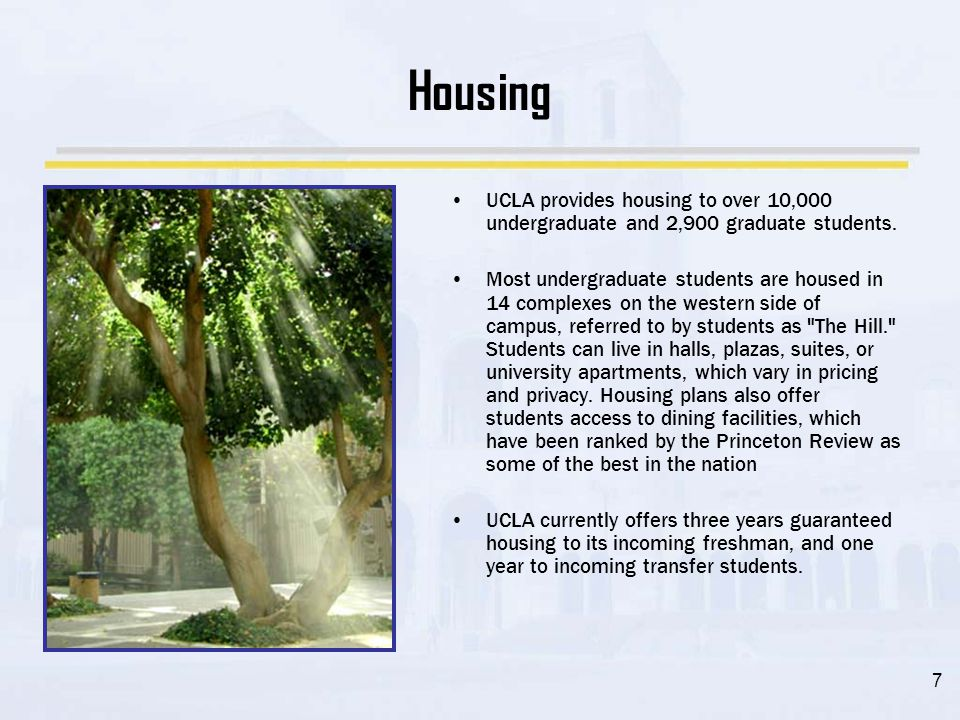 8 Student Life 2010 2009 Applicants 57,651 55,676 Admits 13,020 12,098 % Admitted 22.58 21.73 Students come to UCLA from all 50 states and more than 100 countries, though according to statistics from 2001–05, an average 92.6% of the entire student body originated from California.