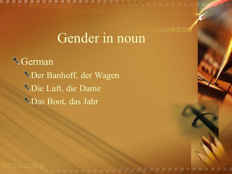 Gender in noun German Der Banhoff, der Wagen Die Luft, die Dame Das Boot, das Jahr