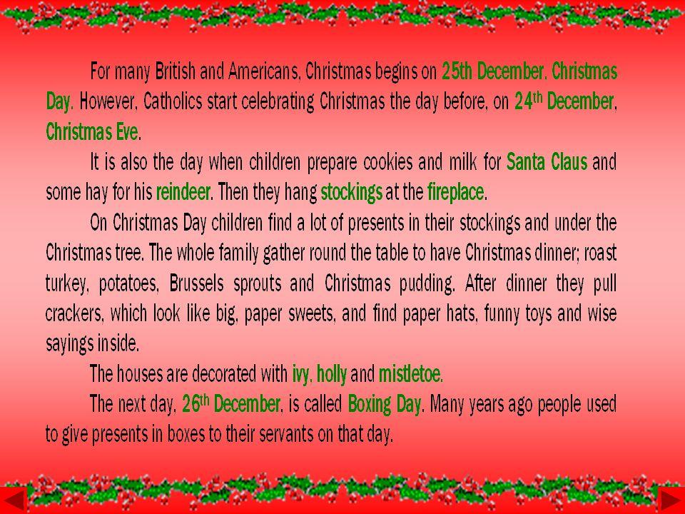 CHRISTMAS Christmas tree carolspresentsturkeyhollyreindeercrackerstocking