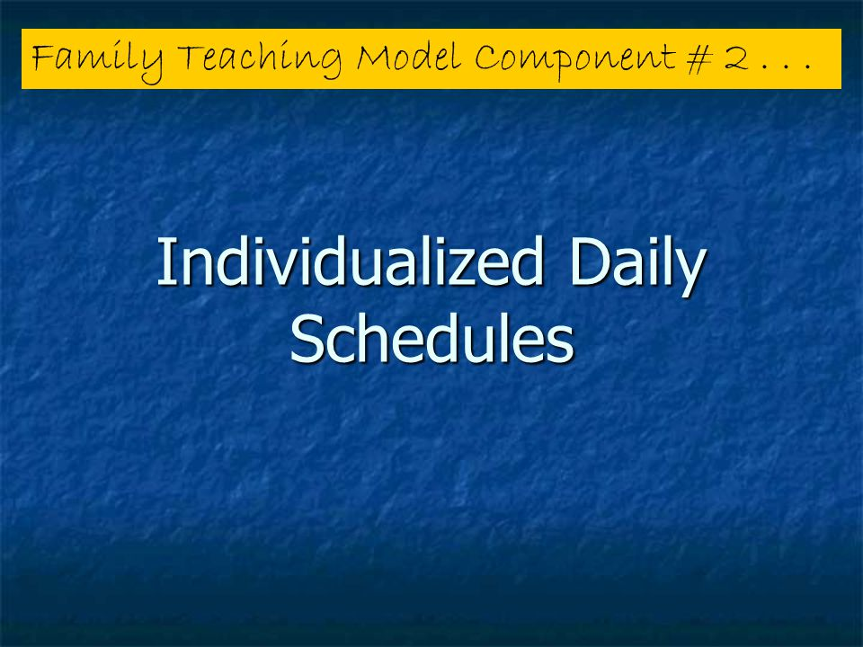 Individualized Daily Schedules Family Teaching Model Component # 2...