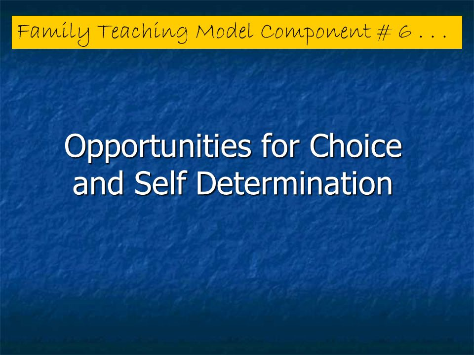 Opportunities for Choice and Self Determination Family Teaching Model Component # 6...