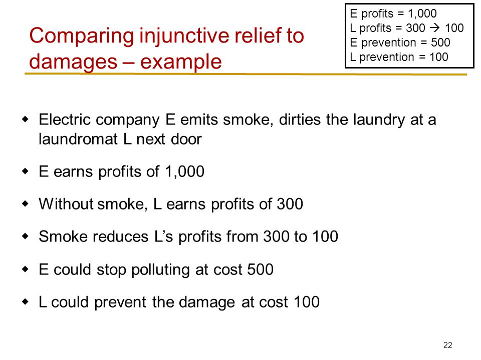 22  Electric company E emits smoke, dirties the laundry at a laundromat L next door  E earns profits of 1,000  Without smoke, L earns profits of 300  Smoke reduces L's profits from 300 to 100  E could stop polluting at cost 500  L could prevent the damage at cost 100 Comparing injunctive relief to damages – example E profits = 1,000 L profits = 300  100 E prevention = 500 L prevention = 100