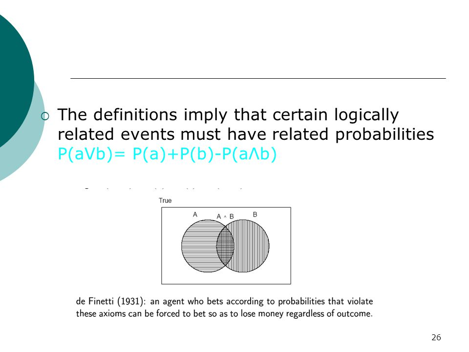 26  The definitions imply that certain logically related events must have related probabilities P(aVb)= P(a)+P(b)-P(aΛb)