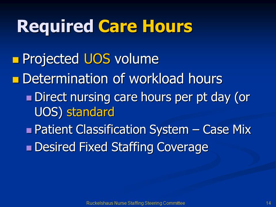 14 Ruckelshaus Nurse Staffing Steering Committee Required Care Hours Projected UOS volume Projected UOS volume Determination of workload hours Determination of workload hours Direct nursing care hours per pt day (or UOS) standard Direct nursing care hours per pt day (or UOS) standard Patient Classification System – Case Mix Patient Classification System – Case Mix Desired Fixed Staffing Coverage Desired Fixed Staffing Coverage