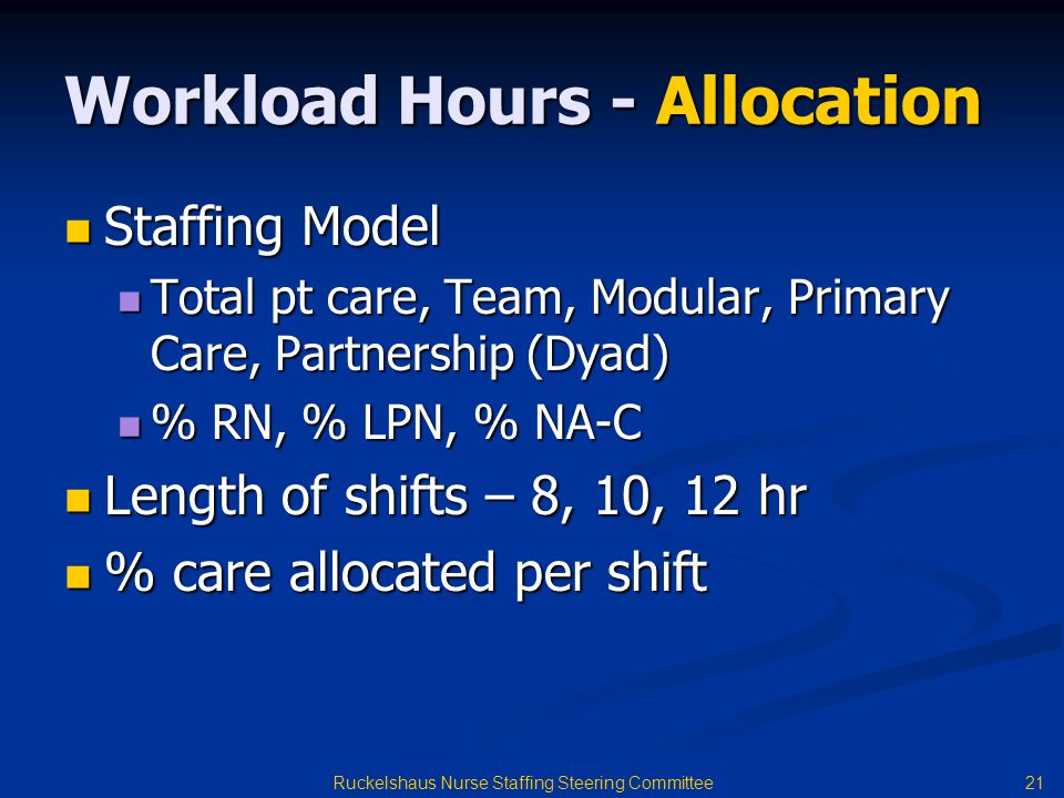 21 Ruckelshaus Nurse Staffing Steering Committee Workload Hours - Allocation Staffing Model Staffing Model Total pt care, Team, Modular, Primary Care, Partnership (Dyad) Total pt care, Team, Modular, Primary Care, Partnership (Dyad) % RN, % LPN, % NA-C % RN, % LPN, % NA-C Length of shifts – 8, 10, 12 hr Length of shifts – 8, 10, 12 hr % care allocated per shift % care allocated per shift