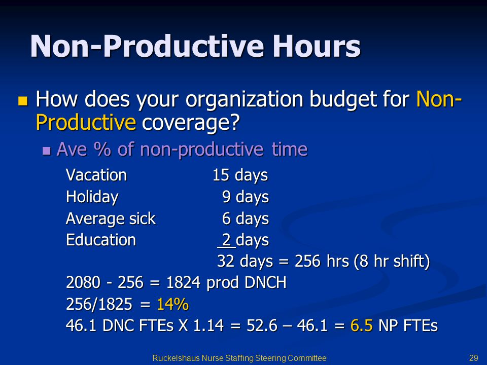 29 Ruckelshaus Nurse Staffing Steering Committee Non-Productive Hours How does your organization budget for Non- Productive coverage.