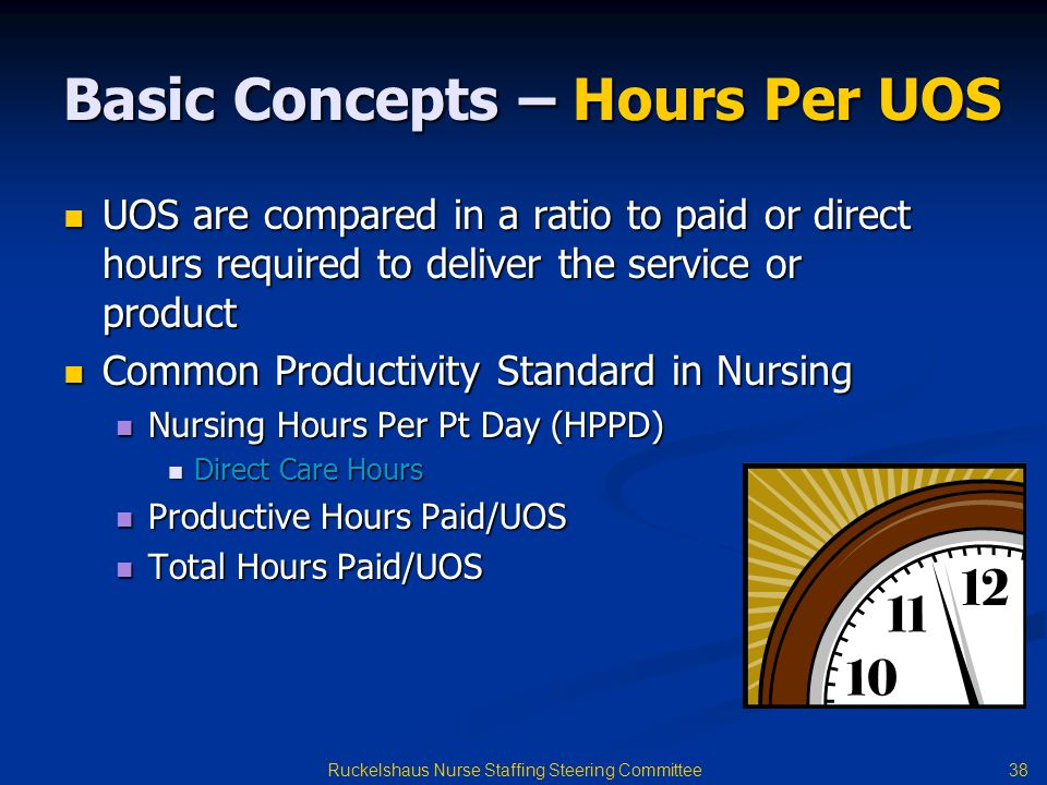 38 Ruckelshaus Nurse Staffing Steering Committee Basic Concepts – Hours Per UOS UOS are compared in a ratio to paid or direct hours required to deliver the service or product UOS are compared in a ratio to paid or direct hours required to deliver the service or product Common Productivity Standard in Nursing Common Productivity Standard in Nursing Nursing Hours Per Pt Day (HPPD) Nursing Hours Per Pt Day (HPPD) Direct Care Hours Direct Care Hours Productive Hours Paid/UOS Productive Hours Paid/UOS Total Hours Paid/UOS Total Hours Paid/UOS
