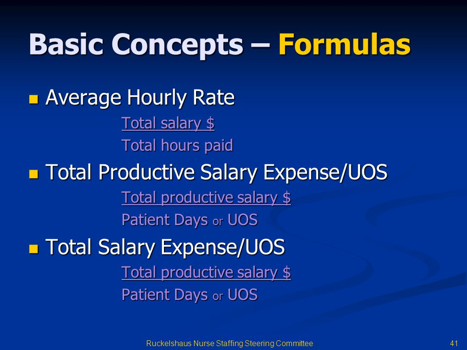 41 Ruckelshaus Nurse Staffing Steering Committee Basic Concepts – Formulas Average Hourly Rate Average Hourly Rate Total salary $ Total hours paid Total Productive Salary Expense/UOS Total Productive Salary Expense/UOS Total productive salary $ Patient Days or UOS Total Salary Expense/UOS Total Salary Expense/UOS Total productive salary $ Patient Days or UOS