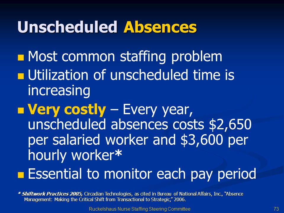 73 Ruckelshaus Nurse Staffing Steering Committee Unscheduled Absences Most common staffing problem Utilization of unscheduled time is increasing Very costly – Every year, unscheduled absences costs $2,650 per salaried worker and $3,600 per hourly worker* Essential to monitor each pay period * Shiftwork Practices 2005, Circadian Technologies, as cited in Bureau of National Affairs, Inc., Absence Management: Making the Critical Shift from Transactional to Strategic, 2006.