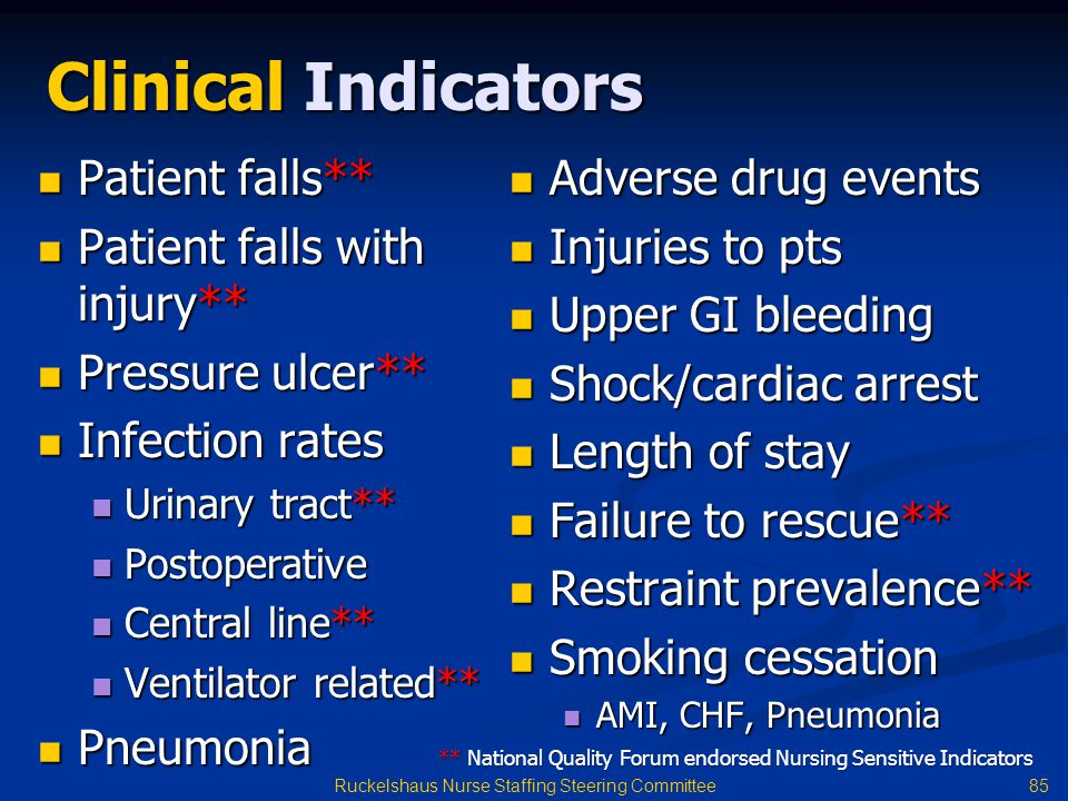 85 Ruckelshaus Nurse Staffing Steering Committee Clinical Indicators Patient falls** Patient falls** Patient falls with injury** Patient falls with injury** Pressure ulcer** Pressure ulcer** Infection rates Infection rates Urinary tract** Urinary tract** Postoperative Postoperative Central line** Central line** Ventilator related** Ventilator related** Pneumonia Pneumonia Adverse drug events Adverse drug events Injuries to pts Injuries to pts Upper GI bleeding Upper GI bleeding Shock/cardiac arrest Shock/cardiac arrest Length of stay Length of stay Failure to rescue** Failure to rescue** Restraint prevalence** Restraint prevalence** Smoking cessation Smoking cessation AMI, CHF, Pneumonia AMI, CHF, Pneumonia ** National Quality Forum endorsed Nursing Sensitive Indicators