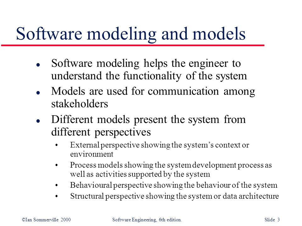©Ian Sommerville 2000 Software Engineering, 6th edition. Slide 4 Context model