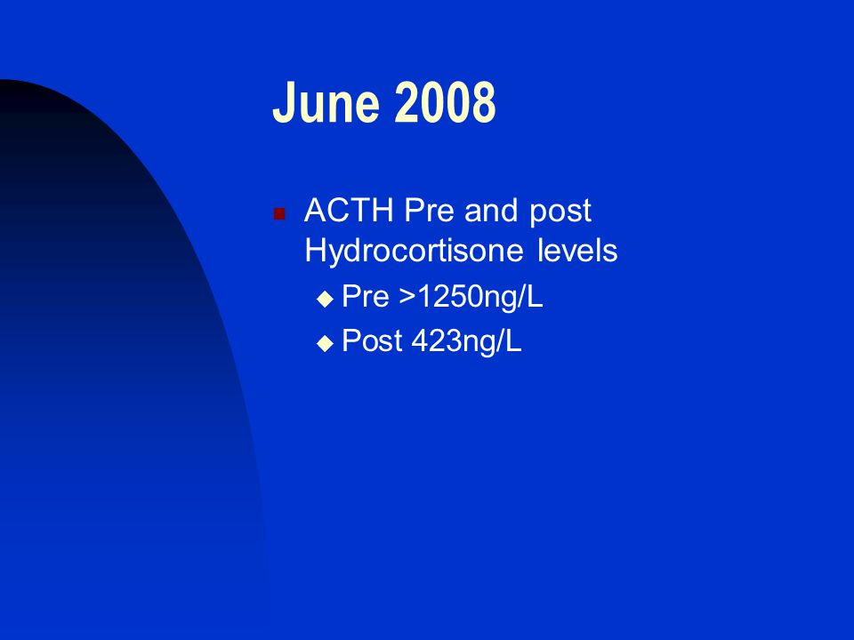 June 2008 ACTH Pre and post Hydrocortisone levels  Pre >1250ng/L  Post 423ng/L