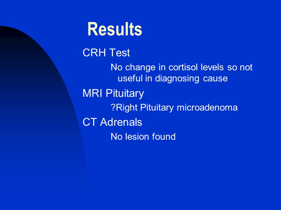 Results CRH Test No change in cortisol levels so not useful in diagnosing cause MRI Pituitary ?Right Pituitary microadenoma CT Adrenals No lesion found