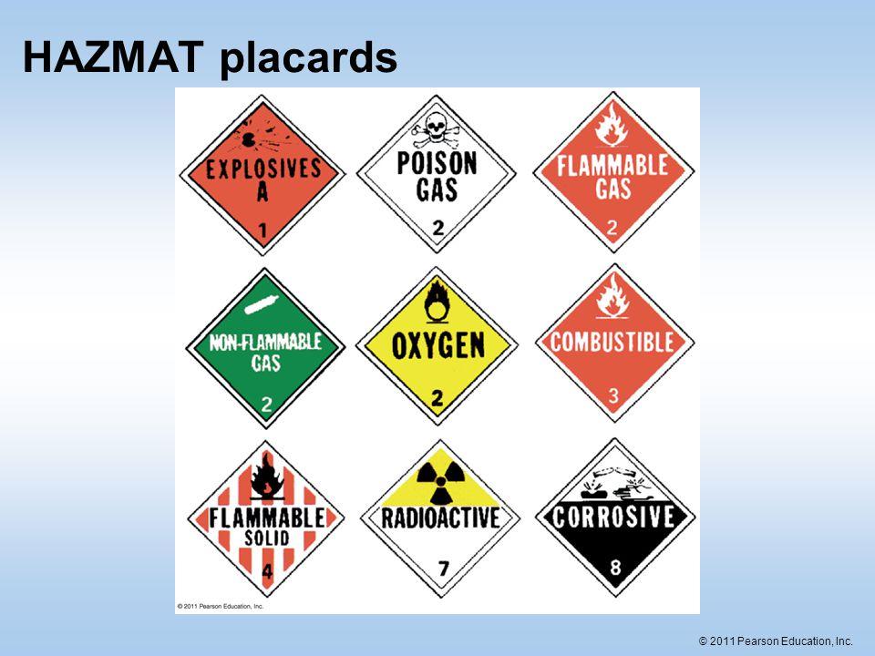 © 2011 Pearson Education, Inc. HAZMAT placards
