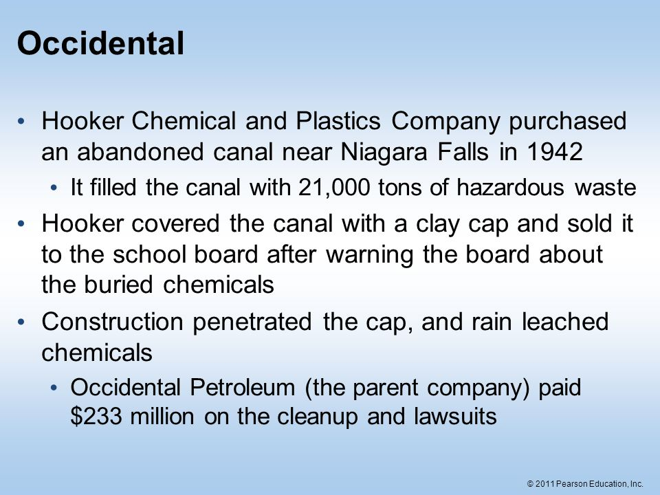 © 2011 Pearson Education, Inc. Occidental Hooker Chemical and Plastics Company purchased an abandoned canal near Niagara Falls in 1942 It filled the c