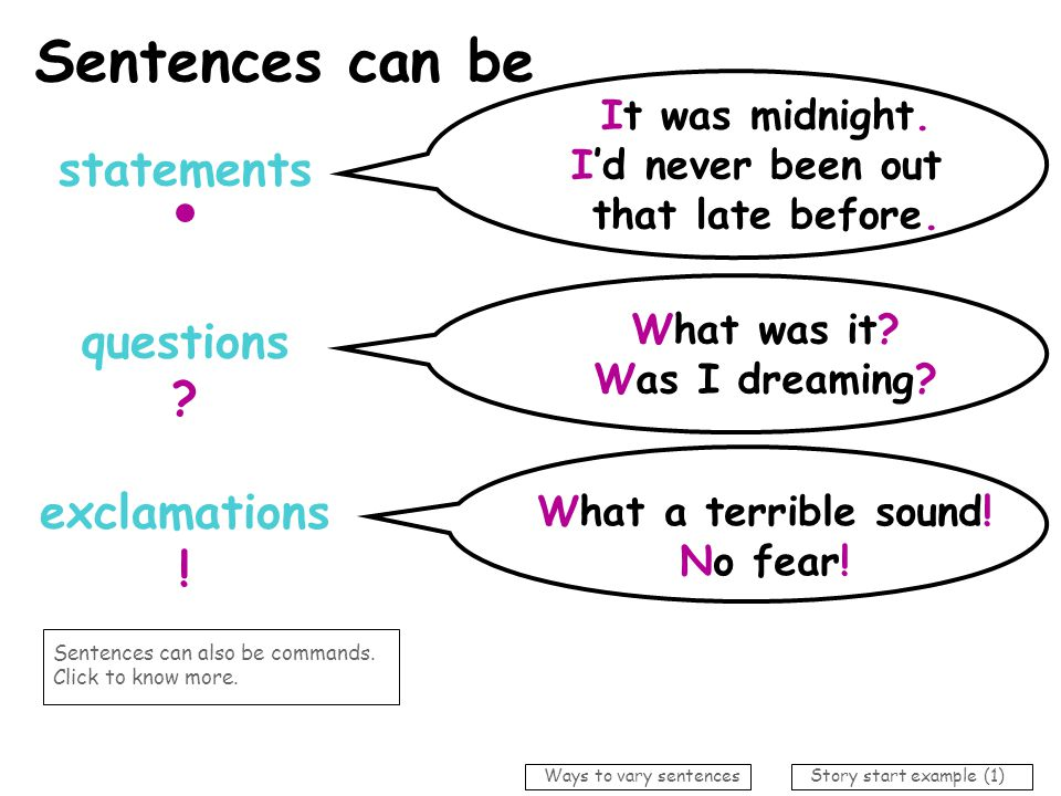 Sentences can be short… * to attract attention * for dramatic impact * to move events on quickly It was midnight.