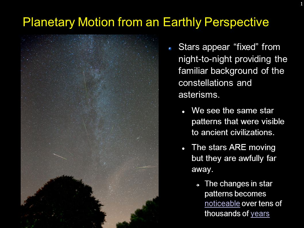 "1 Planetary Motion from an Earthly Perspective Stars appear ""fixed"" from night-to-night providing the familiar background of the constellations and as"