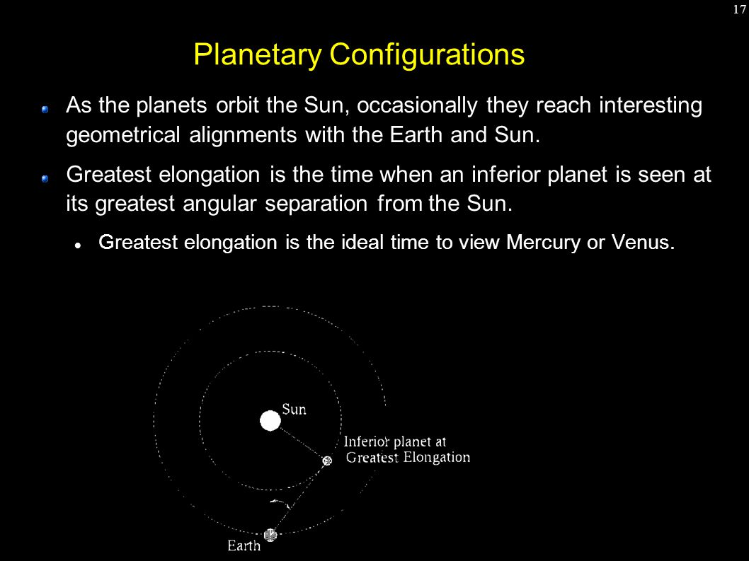 17 Planetary Configurations As the planets orbit the Sun, occasionally they reach interesting geometrical alignments with the Earth and Sun.