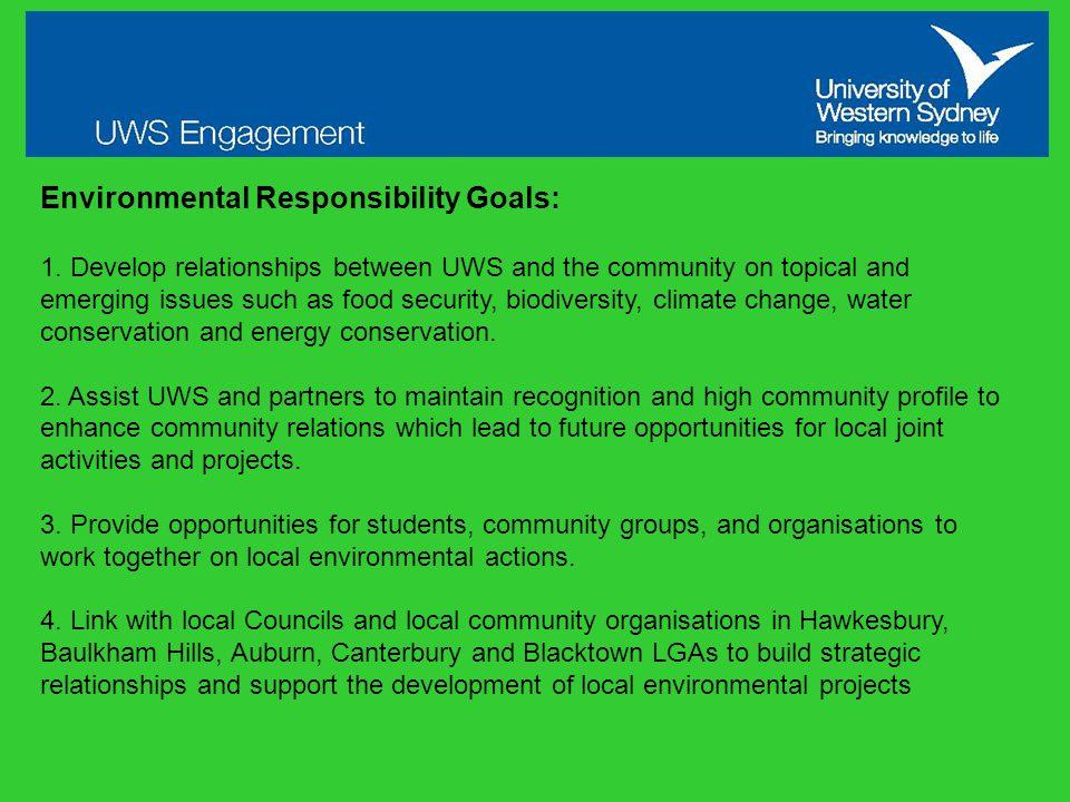 Environmental Responsibility Goals: 1.