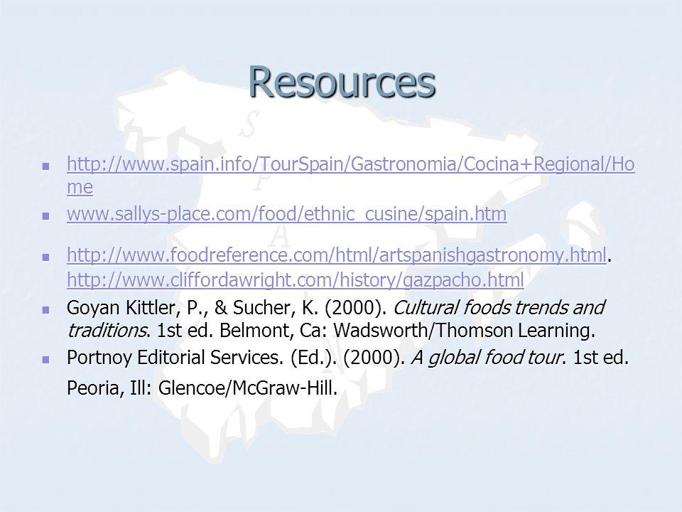 Resources http://www.spain.info/TourSpain/Gastronomia/Cocina+Regional/Ho me http://www.spain.info/TourSpain/Gastronomia/Cocina+Regional/Ho me http://www.spain.info/TourSpain/Gastronomia/Cocina+Regional/Ho me http://www.spain.info/TourSpain/Gastronomia/Cocina+Regional/Ho me www.sallys-place.com/food/ethnic_cusine/spain.htm www.sallys-place.com/food/ethnic_cusine/spain.htm www.sallys-place.com/food/ethnic_cusine/spain.htm http://www.foodreference.com/html/artspanishgastronomy.html.