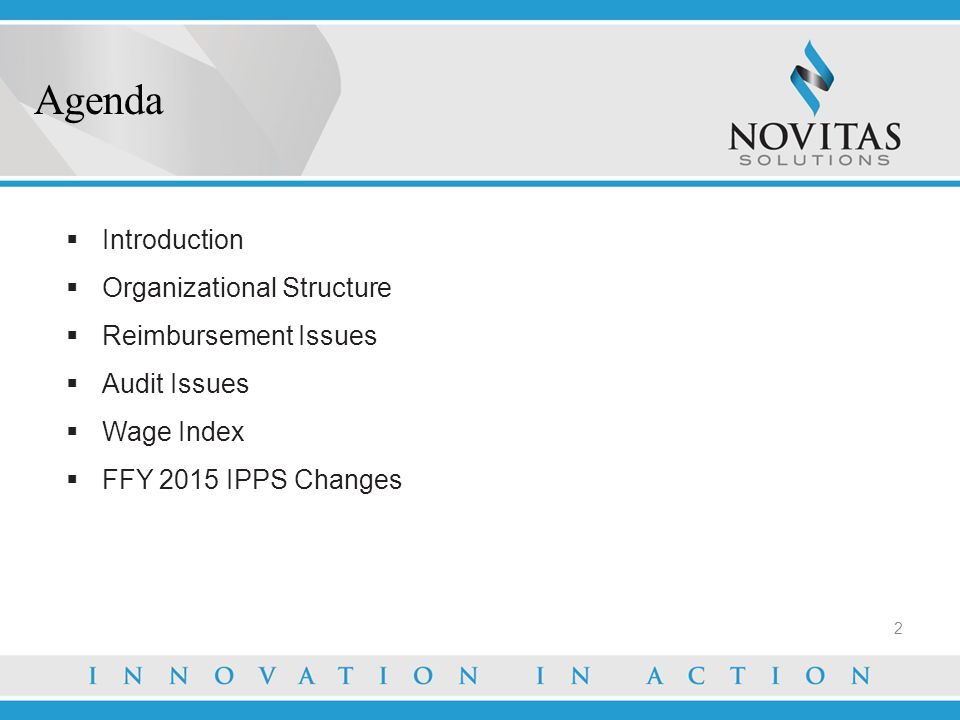  Introduction  Organizational Structure  Reimbursement Issues  Audit Issues  Wage Index  FFY 2015 IPPS Changes Agenda 2